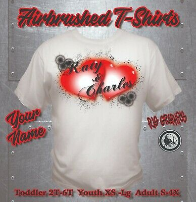 e831a9cf RAINBOW HEART NAME Airbrushed T-shirt Custom Personalized All Sizes ...