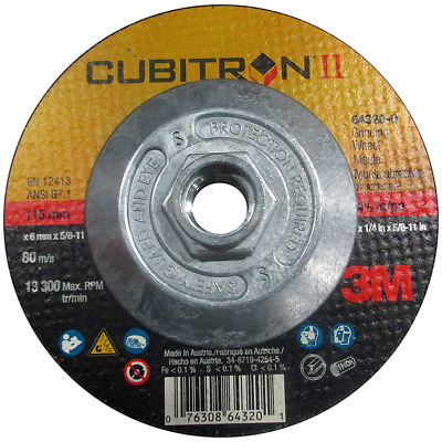 "3M 66534 CUBITRON II CUT-OFF WHEEL 4-1//2/""X .045/""X5//8-11 SPIN-ON FREE SHIPPING"