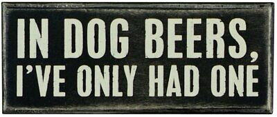 "Primitives by Kathy 18027 Box Sign, 6"" x 2.5"", In Dog Beers - NEW"