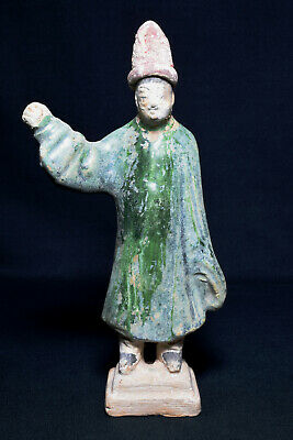 Antique Chinese Ming Dynasty Tomb Pottery Statue Attendant Figure, C.1500s