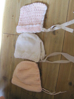 3 Baby Hats One White One Home Knit Pink & White With Pom Poms Pink Larger One