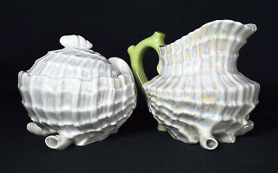 Antique Victorian Iridescent China Shell Sugar Bowl and Jug c1880s