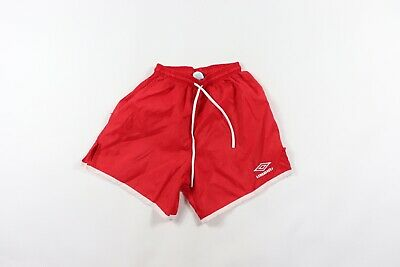 ff198d6ae2 Vintage 90s Umbro Mens Small Spell Out Nylon Running Jogging Soccer Shorts  Red