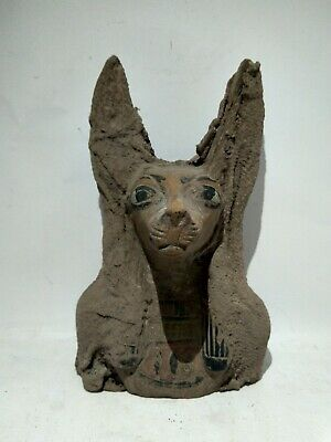 RARE ANTIQUE ANCIENT EGYPTIAN Statue Egypt of Head God Anubis 2190-1080 Bc