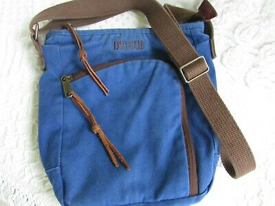 3bf311bc2 Duluth Trading Co Canvas Crossbody Messenger Bag Purse Navy Top Sling Zip  Top