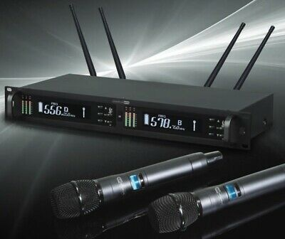 Professional Twin Wireless Stage UHF MIC Microphone System Rack Mount AIR2PRO