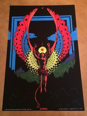 Icarus Vintage Houston Blacklight  Poster Psychedelic 1973 Mythology Pin-up 70's