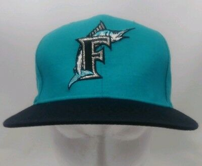 c61723591f660a Florida Marlins MLB Vintage 90's New Era Pro Model Snapback Cap Hat Teal  Black