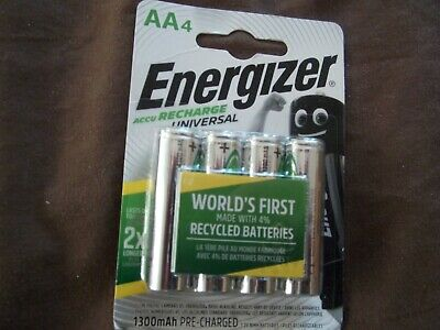 NEW Energizer ACCU RECHARGE universal AA rechargeable batteries 4 pack 1300mAh