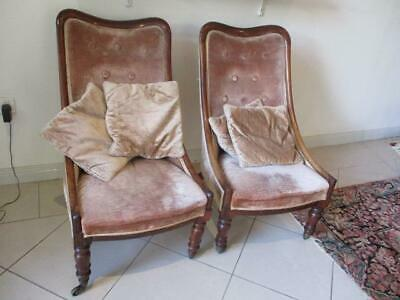 Pair Antique Victorian Slipper Chairs Upholstered Good Condition