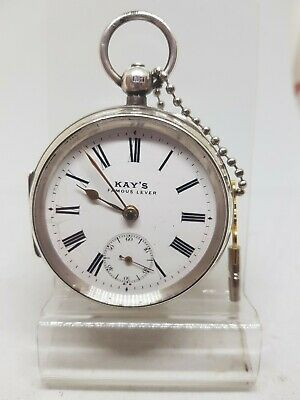 Antique solid silver gents KAY'S famous lever pocket watch 1905 working ref564