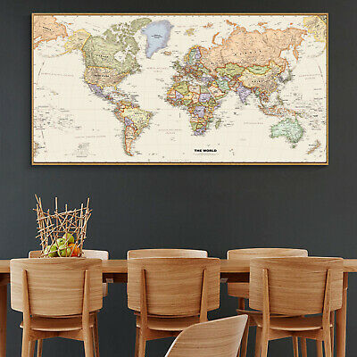 Globe Geographic Political HD World Map Canvas Poster Education Art Unframed 119