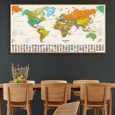 Globe Geographic Political HD World Map Canvas Poster Education Art Unframed 121