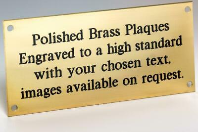 """Solid Polished Brass Plaque - 100 mm by 50 mm - 4"""" by 2"""" inch - Engraved"""