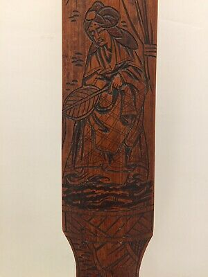 "Antique Japanese Chinese Hand Carved Bamboo Wood Page Turner. 17"" Long"