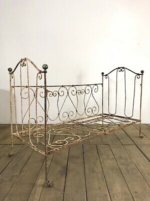 Stunning Antique French Original Painted Wrought Iron Day Bed