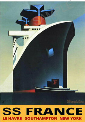Vintage Poster FRENCH Tourism Cruise Ship Advert Art Deco PRINT SS FRANCE A3 A4