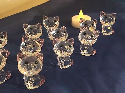 Swarovski Cat Crystal Display Collectable Ornament Kitty Flawed Novelty Gift X 1
