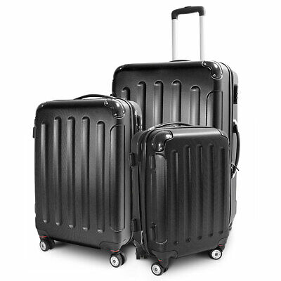 Berwin 3-teiliges Hartschalen Kofferset Reisetrolley Stripes 4 Rollen Schwarz