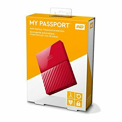 WsternDigital WDBYNN0010BRDWESN1TB Red  USB 3.0 My Passport External Hard Drive