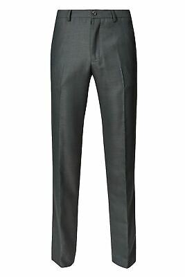 Ex M&S Mens Dark Grey Smart Flat Front Work Trousers Size 32 - 40