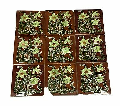 Antique Brown Floral Tile with Green Flowers