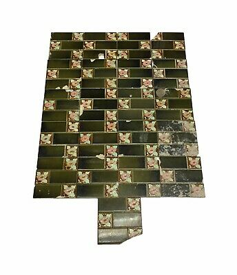 Antique Green Floral Quadrant Tile Set
