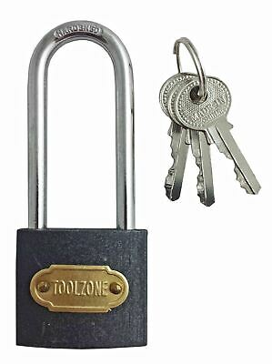 38mm Long Shackle Padlock Shank Lock with 3 Keys Grey Gate Locker Door Indoor