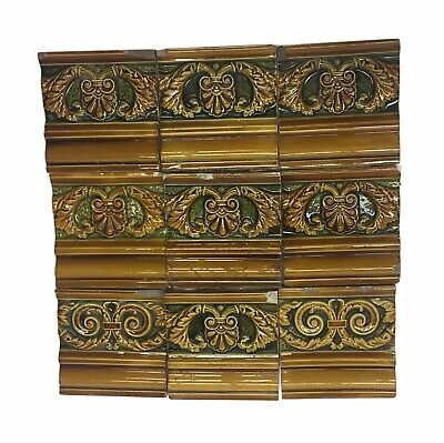Antique Brown & Green Decorative Ledge Tile Set