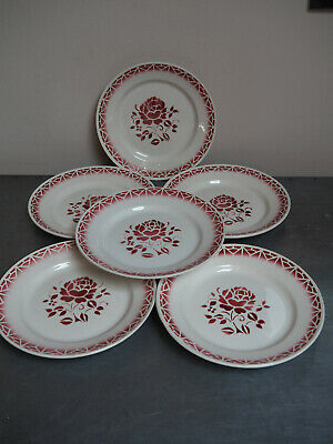 6 assiettes plates faïence ST AMAND CERANORD service NINA rose rouge
