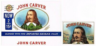 GENUINE CIGAR BOX LABEL VINTAGE PAIR 1930 JOHN CARVER PILGRIM MAYFLOWER PLYMOUTH