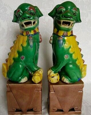Pair of Chinese ANTIQUE PORCELAIN Foo Dog Bookends Qing China Asian