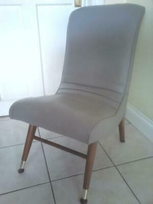 Stylish retro 1960 70 's grey faux leather button finish chair seat atomic legs