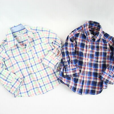 Lot of 2 Carter's Baby Boy Long Sleeve Button Down Plaid Shirts 6 Months