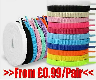 Flat shoe laces pair 8mm wide, kids & adults trainers shoes boots - Buy 2 for 3