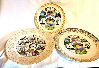 3 Collectable Souvenir Vintage State of Ohio Plates The Buckeye State