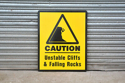 large metal UNSTABLE CLIFFS FALLING ROCKS warning safety sign - FREE DELIVERY