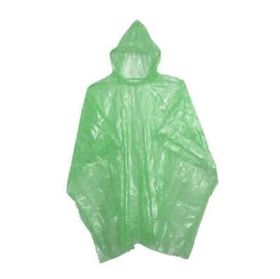 Adult Rain Poncho Green Waterproof Plastic Disposable Rain Hat Hood Ladies Mens
