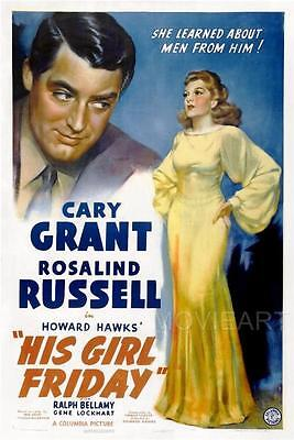 His Girl Friday Vintage Movie Poster Film A4 A3 Art Print Cinema