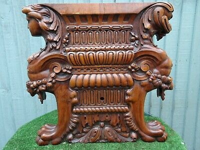 STUNNING 19thC GOTHIC WOODEN WALNUT ARCHITECTURAL CARVING WITH FIGURES c1880s