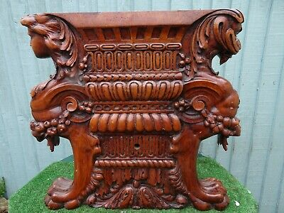 STUNNING 19th c. GOTHIC WOODEN WALNUT ARCHITECTURAL CARVING WITH FIGURES c1880s