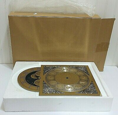 NOS Grandmother Clock Face Hermle Grandfather New Old stock Vtg La Rosa Brass