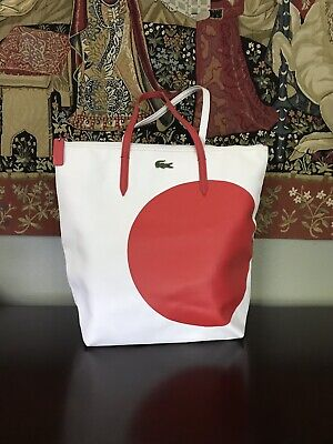 1976d63dcb Lacoste Big Red Dot White Zip Tote Coates Canvas Leather Straps Large  Awesome