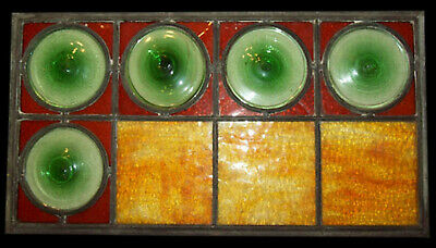 Antique Vtg 19th Century Pontilled Bullseye and Pebbled Glass Leaded Panes Panel
