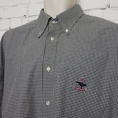 88aab7bf Mens Faconnable Black White Cotton Gingham BDC Crest Long Sleeve Shirt XL
