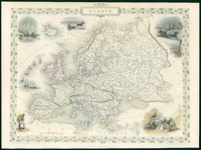 "1850 Original Illustrated Antique Map ""EUROPE"" by TALLIS - FULL COLOUR (TC5)"