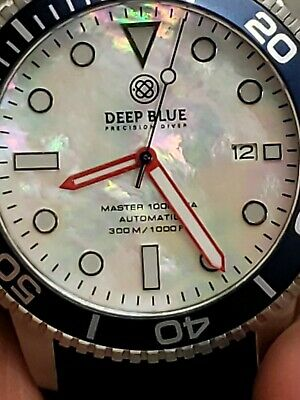 New Deep Blue Master 1000/300Ft Automatic Blue/ Bezel/White/ Grossy/Dial