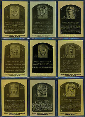 1981-89 Hall Of Fame Metallic Plaque Cards 153 Card Lot Ruth Gehrig Cobb 151559