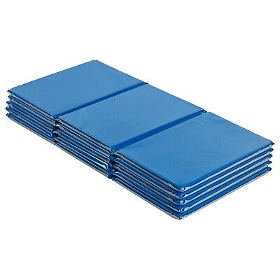 "5-Pack ECR4Kids Value 4-Fold Daycare Rest Mat, Blue and Grey (1"" Thick)"