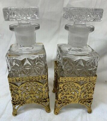 "Set of 2 - Vintage Footed 7"" Gold Gilt Filigree Clear Glass Perfume Bottles"